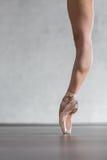 Dançarino bonito novo que levanta no estúdio fotografia de stock royalty free