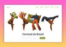 Dançarino Character Landing Page do carnaval de Brasil Dança da mulher do homem no festival vívido brasileiro do feriado nacional imagem de stock
