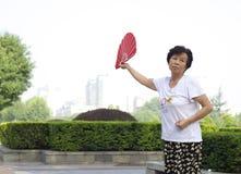 Dançarino chinês do fã Imagens de Stock