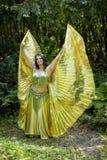 Dançarino com as asas douradas do Isis Fotografia de Stock