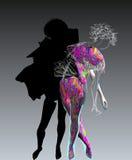 Dançarino com sombra escura Fotografia de Stock