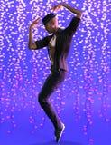 Dançarino considerável do hip-hop no fundo da celebração ilustração stock
