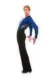 Dançarino considerável do latino na ação no branco Foto de Stock