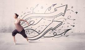 Dançarino da rua com setas e estrelas Imagens de Stock Royalty Free