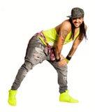 Dançarino da salsa de Zumba, homem de sorriso Estilo urbano da rua No fundo branco imagem de stock royalty free