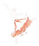 Dançarino de bailado na saia vermelha longa do tutu ilustração do vetor