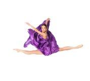 Dançarino de bailado no vestido do vôo Fotografia de Stock