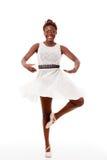 Dançarino de bailado novo do african-american no piroutte Imagens de Stock Royalty Free