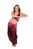 Dançarino de barriga bonito no traje vermelho Imagem de Stock Royalty Free