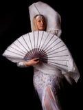 Dançarino de barriga com fantail fotografia de stock royalty free