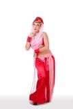 Dançarino de barriga retro que olha inocente fotografia de stock