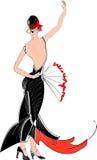Dançarino do flamenco com fã Foto de Stock Royalty Free
