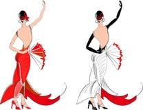 Dançarino do flamenco com fã Fotos de Stock Royalty Free
