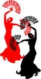 Dançarino do flamenco com os fãs vermelhos e pretos Fotos de Stock Royalty Free