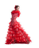 Dançarino do flamenco da mulher no traje vermelho isolado Fotografia de Stock