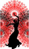 Dançarino do flamenco em um fã vermelho Fotos de Stock Royalty Free
