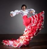Dançarino do Flamenco no vestido bonito Imagens de Stock