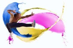Dançarino, em um fundo abstrato. colagem Fotografia de Stock
