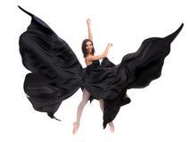Dançarino fêmea do bailado no cetim preto Fotos de Stock Royalty Free