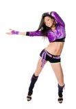Dançarino go-go bonito no branco Imagens de Stock Royalty Free