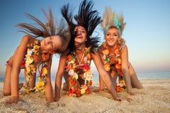 Dançarino havaiano Girls de Hula Fotografia de Stock