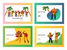 Dançarino Landing Page Set do partido do carnaval de Brasil Dança da mulher do homem no conceito brasileiro do festival de música ilustração do vetor