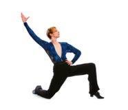 Dançarino masculino do salão de baile em um joelho foto de stock