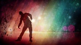 Dançarino masculino Silhouette com fundo do arco-íris do brilho ilustração do vetor