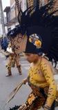 Dançarino mexicano na opinião lateral de pintura de corpo do guerreiro Fotos de Stock Royalty Free