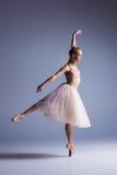 Dançarino moderno bonito novo do estilo que levanta em um fundo do estúdio Imagens de Stock