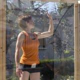 dançarino no cubo atransparent Imagem de Stock Royalty Free