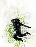 Dançarino no fundo floral ilustração royalty free