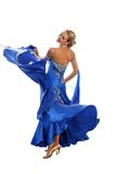 Dançarino no vestido azul-branco foto de stock royalty free