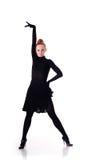 Dançarino no vestido preto fotos de stock royalty free