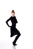 Dançarino no vestido preto imagens de stock