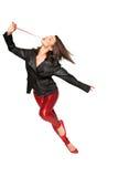 Dançarino novo com casaco de cabedal imagens de stock royalty free