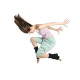 Dançarino novo de salto isolado foto de stock