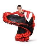 Dançarino novo do flamenco da elegância na ação Fotografia de Stock