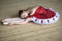 Dançarino novo encantador que faz o esticão inclinado sobre, olhando t Fotos de Stock