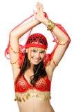 Dançarino oriental no vestido vermelho Imagens de Stock Royalty Free