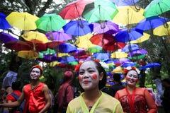 Dançarino Reog Nirboyo do Javanese do grupo imagens de stock