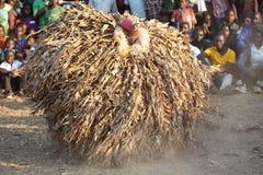 Dançarino tradicional de Nyau com máscara protetora Imagens de Stock