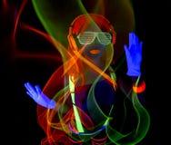 Dançarino uv de néon 'sexy' do fulgor Fotos de Stock Royalty Free