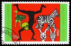 Dançarinos animais, serie de Dodo Carnival, cerca de 1986 fotos de stock royalty free