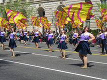 Dançarinos da bandeira no festival Fotos de Stock