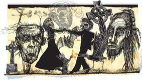 Dançarinos da meia-noite, noite do vudu - um vetor tirado mão ilustração stock