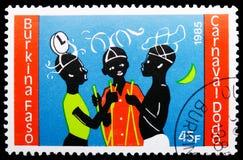 Dançarinos da vara com mantilhas elaboradas, serie de Dodo Carnival, cerca de 1986 fotografia de stock