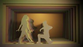 Dançarinos de bailado que actuam contra o fundo do túnel de papel filme