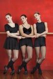 Dançarinos de bailado que guardam as mãos ao executar no estúdio Imagem de Stock