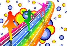 Dançarinos do arco-íris Fotografia de Stock